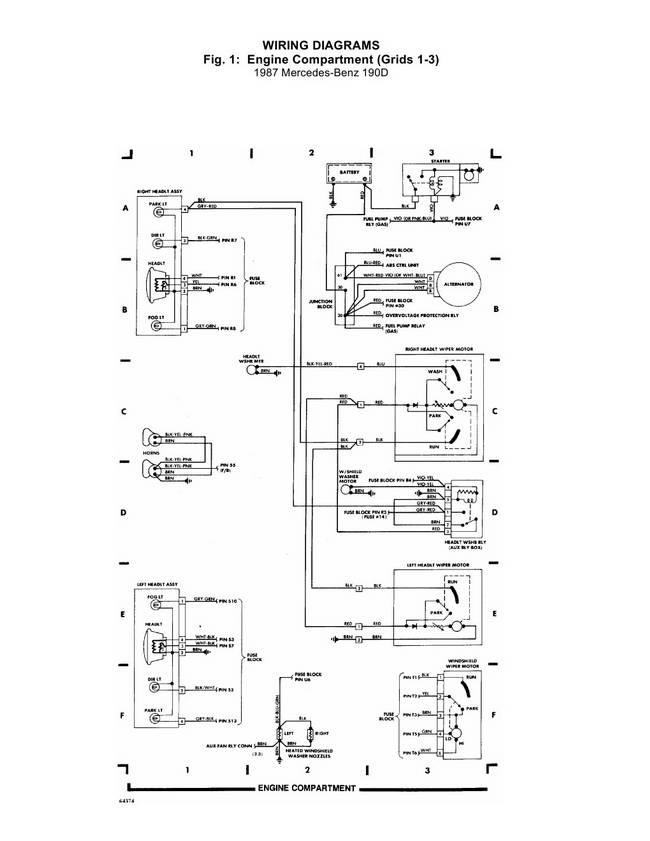 Схема электрическая Mercedes 190D. Моторный отсек