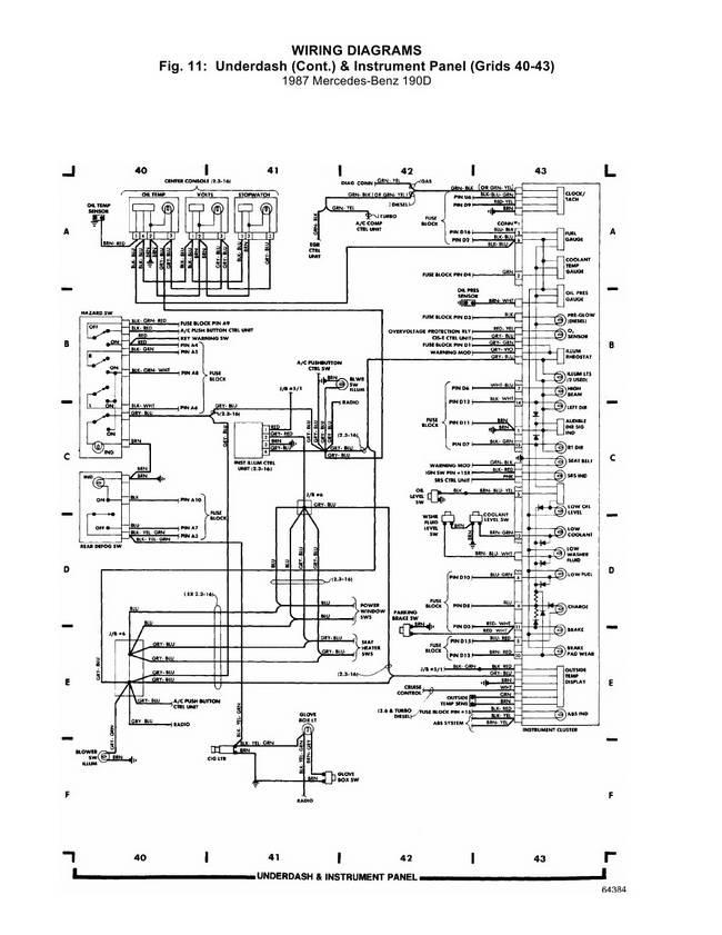 Схема электрическая Mercedes 190D.