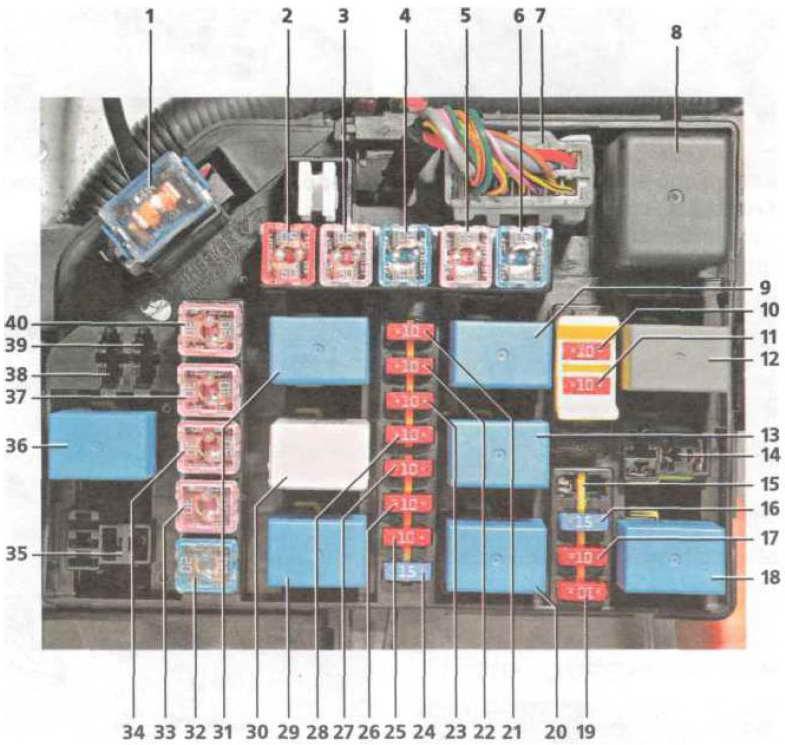 Монтажный блок реле и предохранителей в моторном отсеке