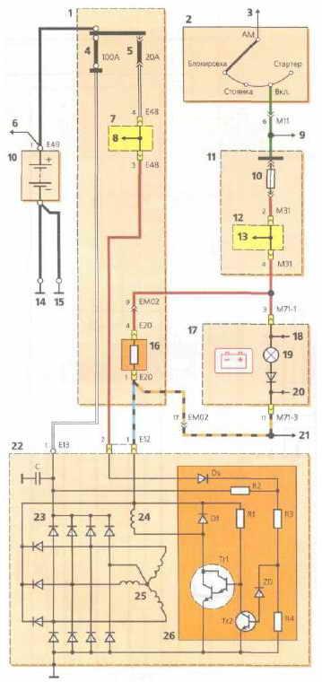 Схема электрическая соединений генератора